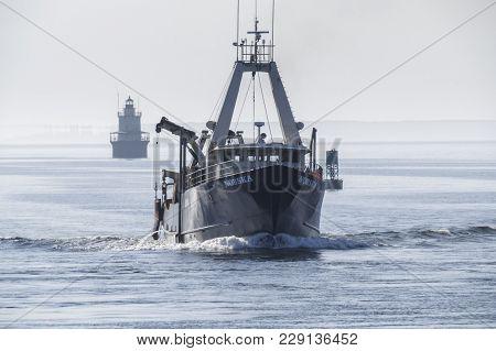 New Bedford, Massachusetts, Usa - March 1, 2018: Fishing Vessel Nobska Approaching New Bedford Inner