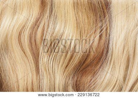 Real Hair Closeup. Hair Texture Pattern Macro Photo. Human European Women's Hair Extension.