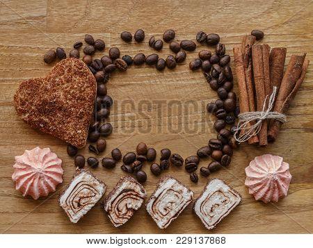 Meringue And Coffee Bean And Cinnamon Cookie Cinnamon Stick Wood Texture