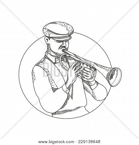 Doodle Art Illustration Of A Classical Jazz Musician Playing A Trumpet Wearing A Flat Cap Or Cabbie