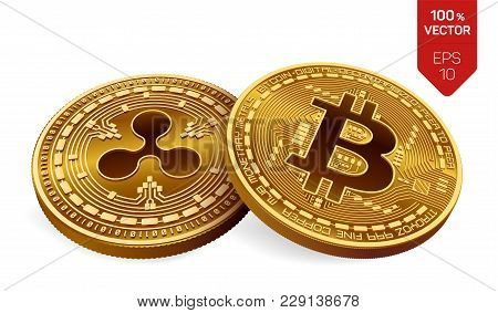Bitcoin And Ripple. 3d Isometric Physical Coins. Digital Currency. Cryptocurrency. Golden Coins With