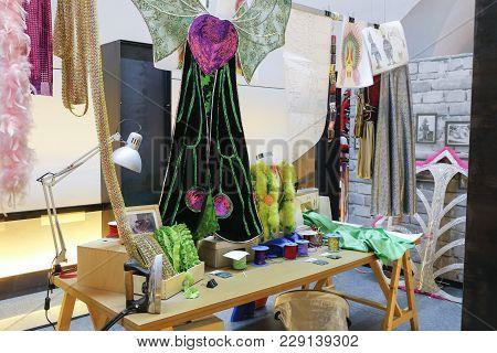Badajoz, Spain - March 1st, 2018: Badajoz Carnival Museum, Disguise Costume Workshop Recreation