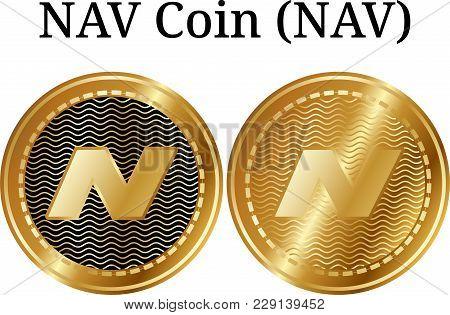 Set Of Physical Golden Coin Nav Coin (nav), Digital Cryptocurrency. Nav Coin (nav) Icon Set. Vector