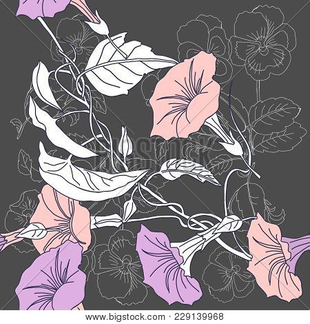 Seamless Pattern With  Pansies And Pink Bindweed