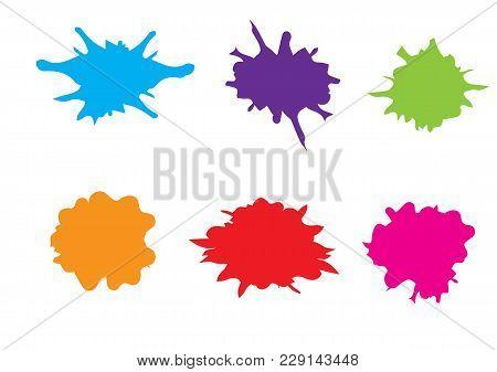 Vector Splatter Set Color Design. Illustration Vector Design