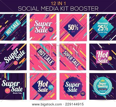Modern Stripes Multipurpose Social Media Kit Booster. Available In 12 Alternate Design, Suitable For