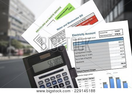 Bills And Calculator, All Bills As Expenses For Environmental Conservation That Cost Of Water Used A