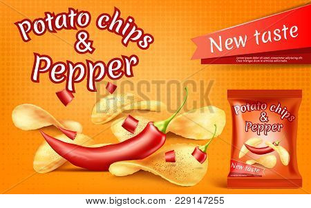 Vector Promotion Banner With Realistic Potato Chips And Red Hot Chili Pepper, High-calorie Meal In F