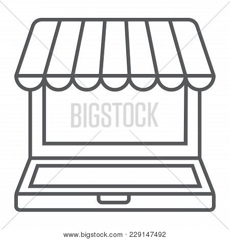 Marketplace Online Thin Line Icon, E Commerce And Marketing, Online Market Sign Vector Graphics, A L
