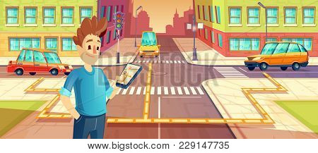 Vector Illustration Of Car Sharing, Man With Mobile Phone With Carpooling App, Automobile, Vehicle R