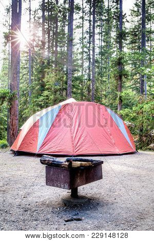Camping Tent In The Wilderness Of Banff National Park In Canada With Fire Pit And Burnt Log In The F