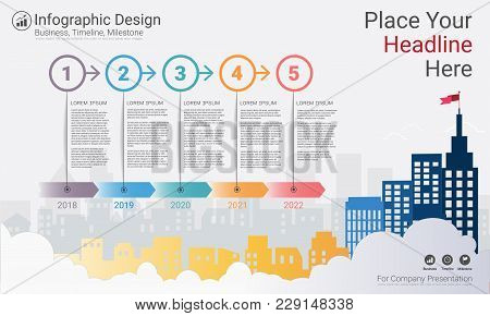 Business Infographics Template, Milestone Timeline Or Road Map With Process Flowchart 5 Options, Str