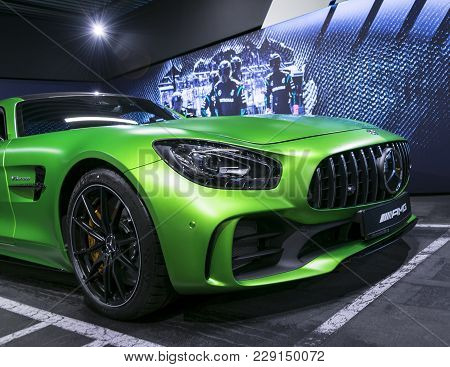 Sankt-petersburg, Russia, January 12, 2018 : Green Mercedes-benz Amg Gtr 2018 V8 Bi-turbo Exterior D