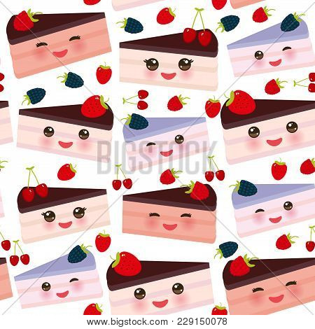 Seamless Pattern Kawaii Sweet Cake Decorated With Fresh Strawberry, Pink Cream And Chocolate Icing,