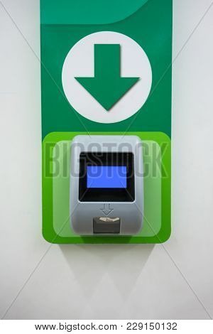 Barcode Price Scanner Machine Installed On Wall For Wholesale Store Self-service.