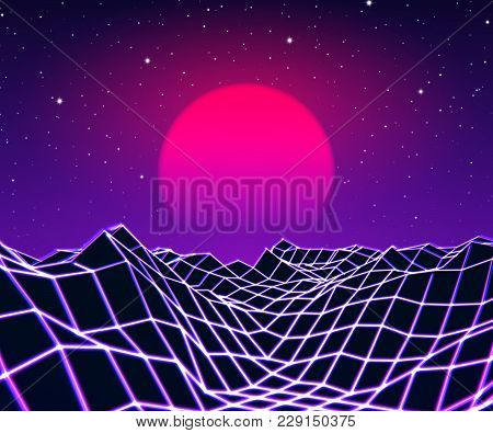 Neon Grid Landscape And Purple Sun With Old 80s Arcade Game Style For New Retro Wave Party Poster Or