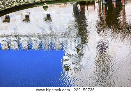 Reflection Abstract Belem Tower Torre De Belem Portuguese Symbol Of Exploration Lisbon Portugal.  Be