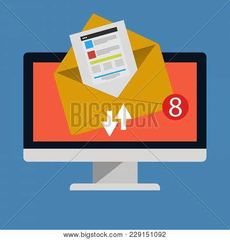 Mail Computer Flat Vector Design Eps 10