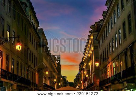 Rua Augusta Street Evening Walking Shopping Street Black White Tiles Shops Restaurants Baixa Lisbon