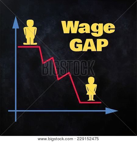 Male And Female Figurines Placed On Descending Line Graph - Wage Gap Concept Illustration