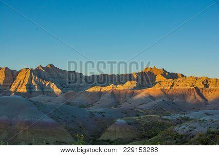 Badlands National Park, South Dakota Taken At Sunset
