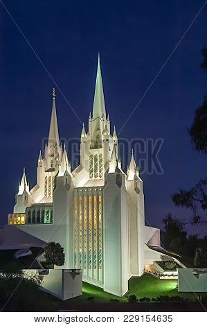 Mormon Temple, San Diego, Ca On A Clear Evening