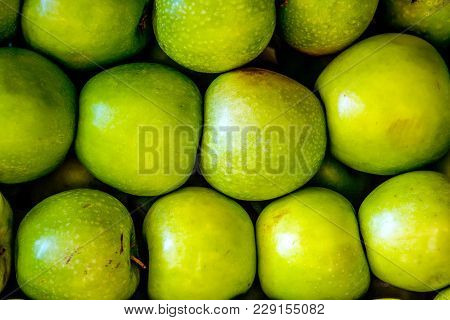 Green Apple Raw Fruit And Vegetable Backgrounds Overhead Perspective, Part Of A Set Collection Of He