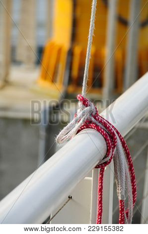 Depth Of Focus Shot Of Knots Used To Tie Off The Halyard