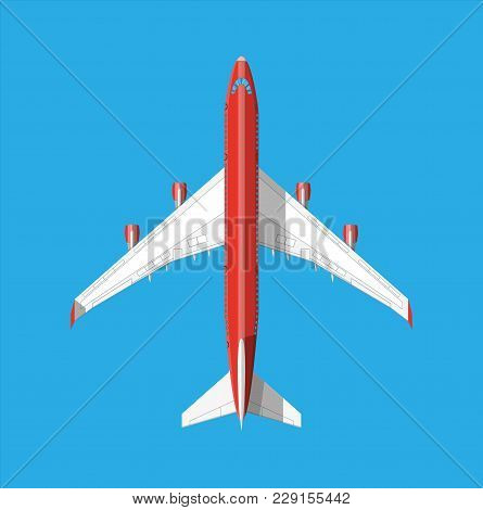 Airplane Top View. Passenger Or Commercial Jet Isolated On Blue. Aircrfat In Flat Style. Vector Illu