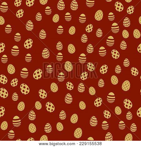 Seamless Pattern With Gold Eggs On Red Background. Vector
