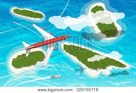 Airplane Flies Above Few Tropical Islands With Beaches And Houses. Floating Boats And Ships. Aerial