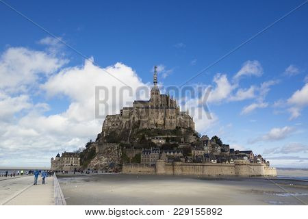 Mont Saint-michel, France - March 27, 2016: Mont Saint-michel General View On A Sunny Spring Day