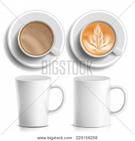 Coffee Cups Vector. Top, Side View. Different Types. Aromatic Classic Hot Coffee. Fast Food Cup Beve