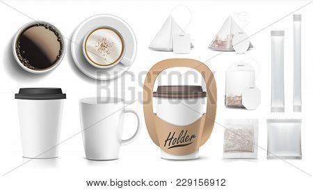 Coffee Packaging Design Vector. Cups Mock Up. White Coffee Mug. Ceramic And Paper, Plastic Cup. Top,