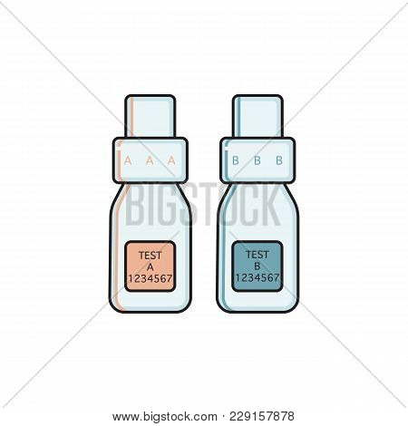 Couple Of A And B Labelled Bottles, Urine Sample Collection Kit For Doping Control Urinalysis, Flat