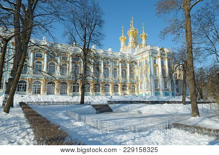 Pushkin.russia.02.27.2018.catherine Park.the Grand Catherine Palace Is The Residence Of The Empress.