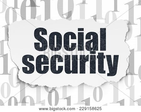Privacy Concept: Painted Black Text Social Security On Torn Paper Background With  Binary Code