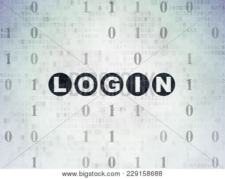 Protection Concept: Painted Black Text Login On Digital Data Paper Background With Binary Code