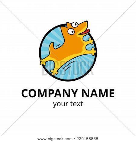 Dog Logo 2018 Yellow. Happy New Year, Chinese Logotype. Holiday, Zodiac Label, Invitation, Greeting