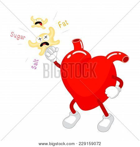 Cute Cartoon Heart Fight With Fat, Sugar And Salt. Health Care Concept. Vector Illustration Isolated