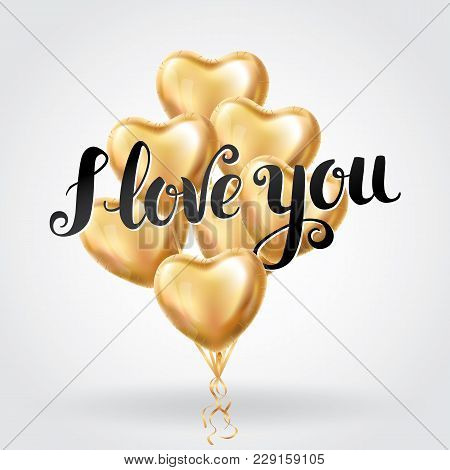 Happy Valentines Day Gold Letter Balloons. I Love You. Valentines Day Card. Gold Background Flyer, P
