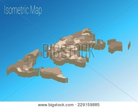 Map World Isometric Concept. Political World Map Isometric 3d Infographic. Eps World Map Infographic