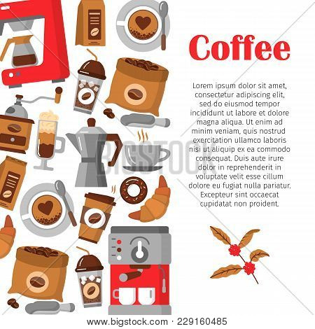 Flat Icons For Coffee Shop. Modern Poster With Coffee Background. Coffee Pot, Cup, Grinder, Beans, S