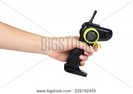 Remote Control Of The Radio Control Model Car In Hand. Isolated On White Background.