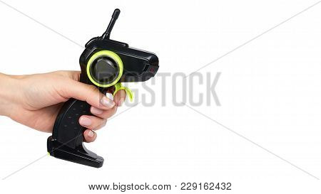 Remote Control Of The Radio Control Model Car In Hand. Isolated On White Background. Copy Space.