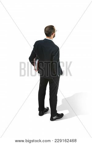 Full Body Rear Or Back View Of Businessman With Red Folder On White Studio Background. Serious Beard