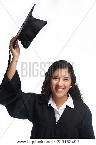 Graduate Girl Isolated. Smiling Happy Hispanic Student Girl