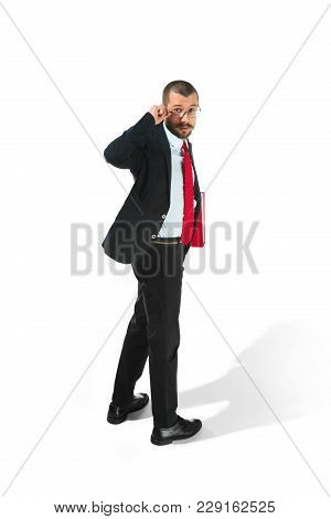 Full Body Rear Or Back View Of Turned Businessman With Red Folder On White Studio Background. Seriou