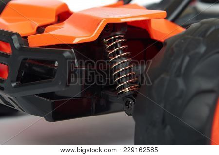 Rc Model Rally, Off Road Race Buggy Close Up Detail. Macro Car.