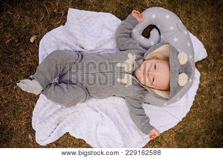 Cute Little Baby Boy Dressed In A Warm Clothes Lying On A Blanket In The Autumn Park